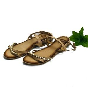 Gios Eppo rhinestone and pearl sandals size 9.5/40